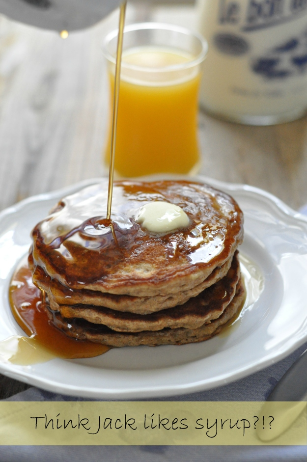 Whole Wheat Banana Pancakes with Cinnamon Syrup
