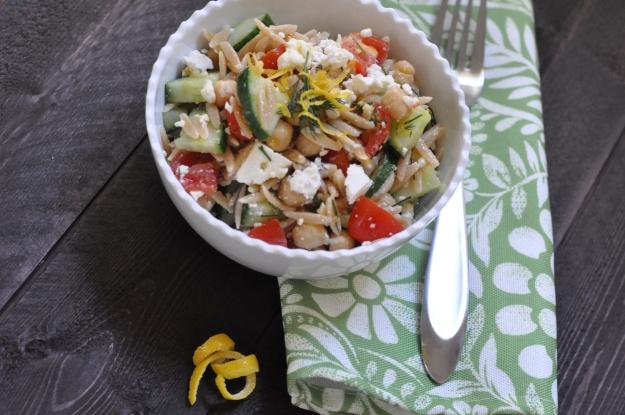 Lemon Orzo Salad with Chick Peas and Feta