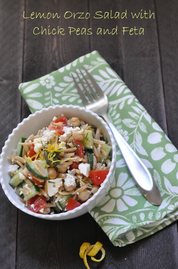 Lemon Orzo Salad with Chick Peas and Feta
