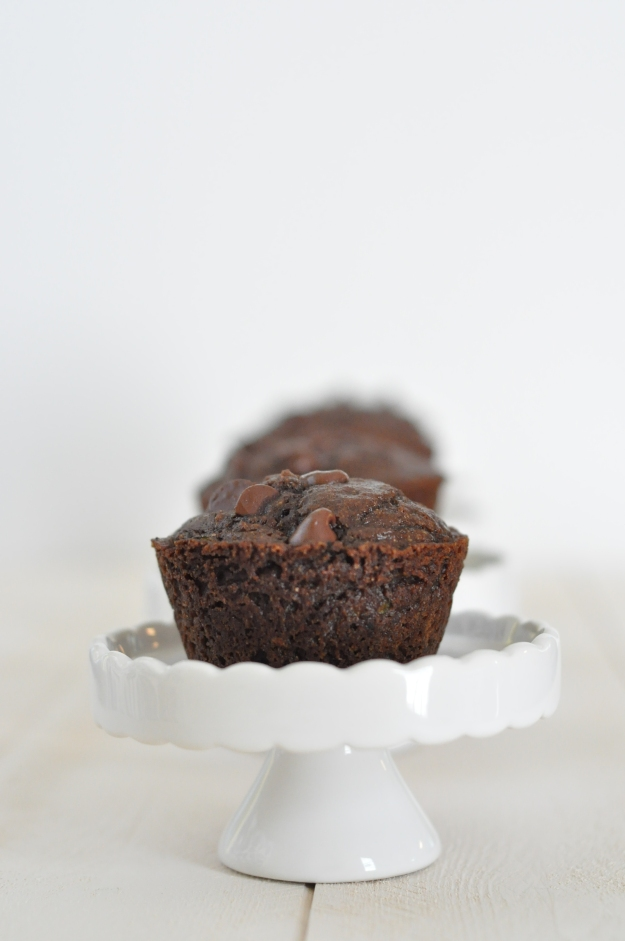 Whole Wheat Zucchini Chocolate Chocolate Chip Muffins