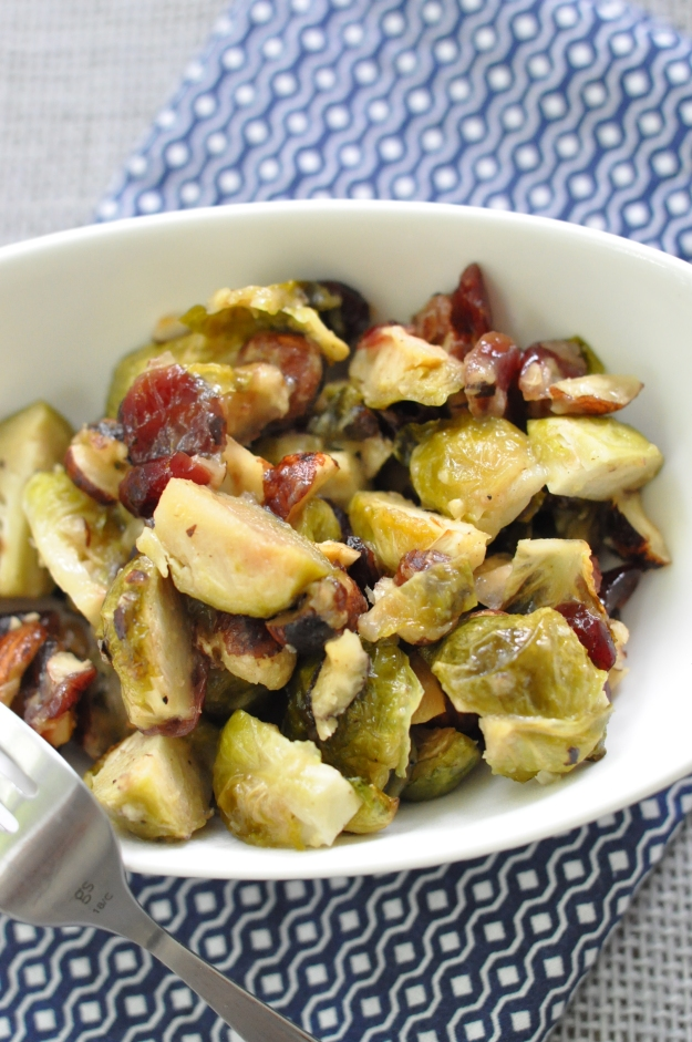 Honey Dijon Brussels Sprouts with Cranberries and Hazelnuts
