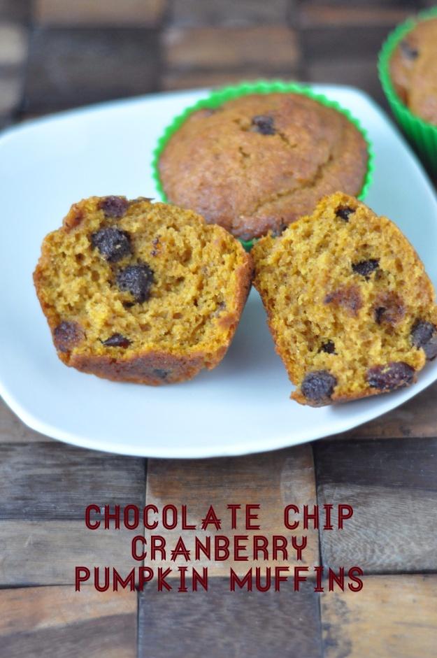 Chocolate Chip Cranberry Pumpkin Muffins