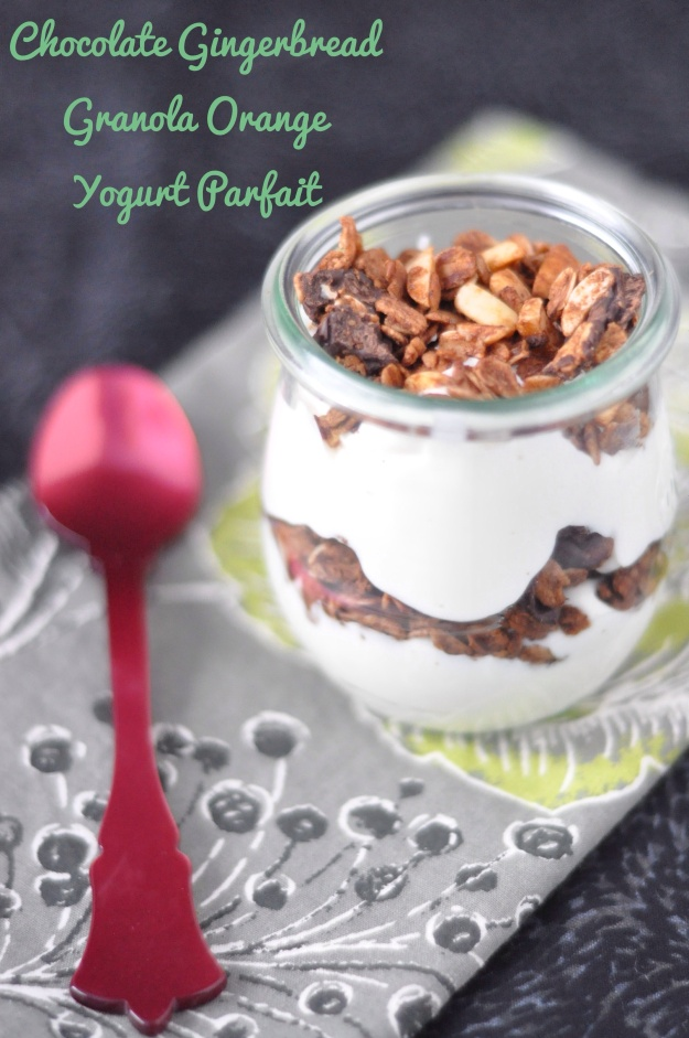 Chocolate Gingerbread Granola Orange Yogurt Parfait