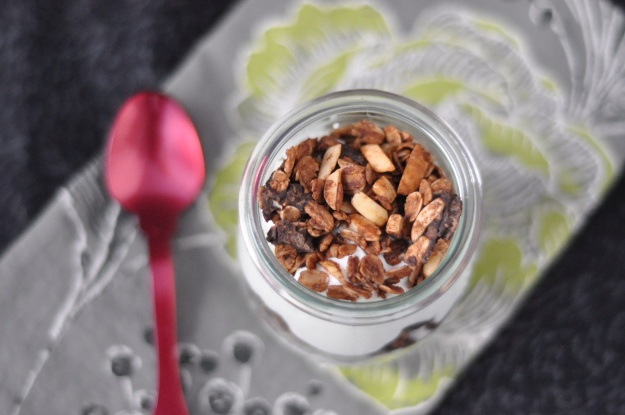 Chocolate Gingerbread Granola Yogurt Parfait
