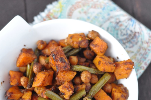 Curry Roasted Green Beans, Sweet Potatoes and Chickpeas