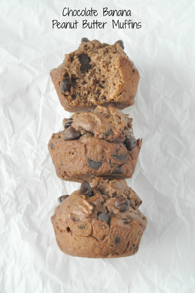 Chocolate Banana Peanut Butter Muffins