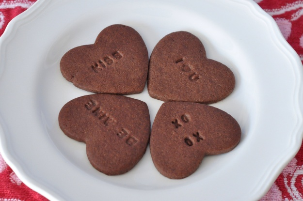 Chocolate Conversation Heart Cookies