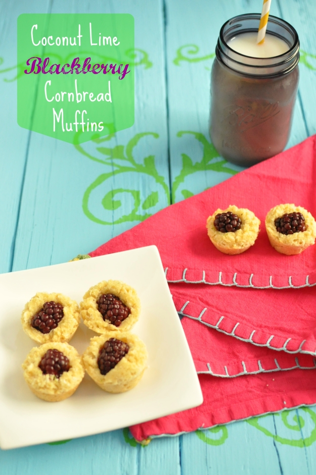 Coconut Lime Blackberry Cornbread Muffins