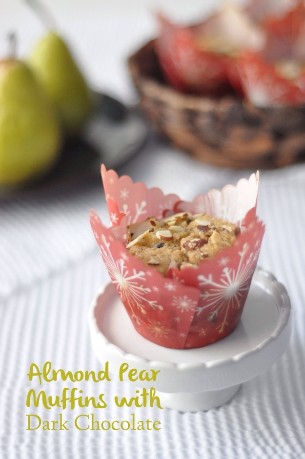 Almond Pear Muffins with Dark Chocolate